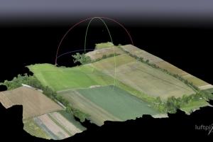 DSM (Digital Surface Model) mittels Drohne erstellt. Ca. 20 ha-Ausschnitt aus Agathes Jagdhabitat.